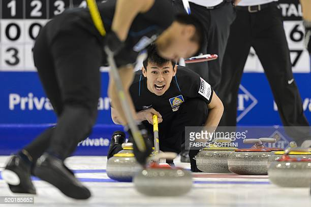 Japan's third Tetsuro Shimizu reacts during the bronze medal game USA vs Japan at the World Men's Curling Championships on April 10 2016 in Basel /...