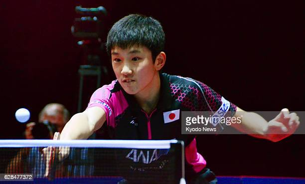 Japan's Tomokazu Harimoto plays during the boys' singles final against South Korean Cho Seung Min at the world junior table tennis championships for...