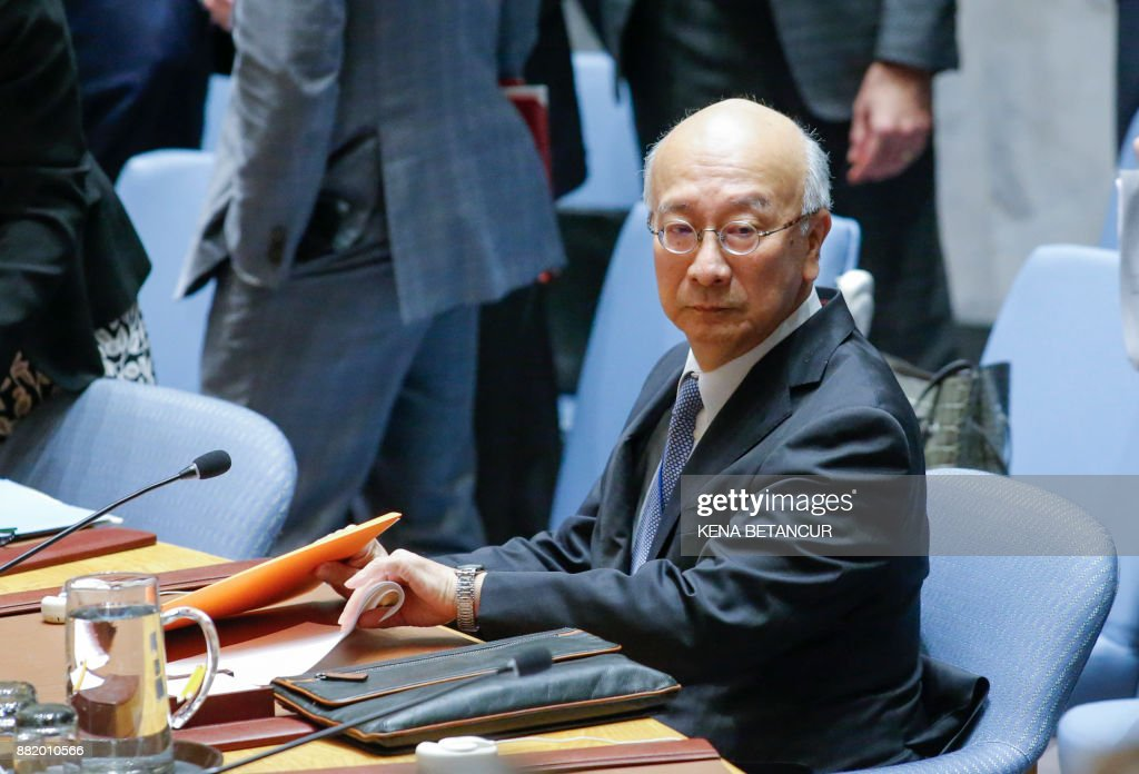 Japan's UN Ambassador Koro Bessho awaits before a United Nations Security Council emergency meeting over launch of another ballistic missile by North Korea on November 29, 2017, at UN Headquarters in New York. /
