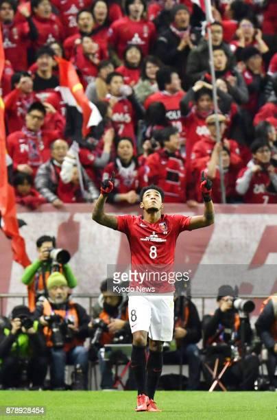 Japan's Urawa Reds striker Rafael Silva acknowledges the crowd after scoring a goal against Saudi Arabia's Al-Hilal in the second half of a 1-0...