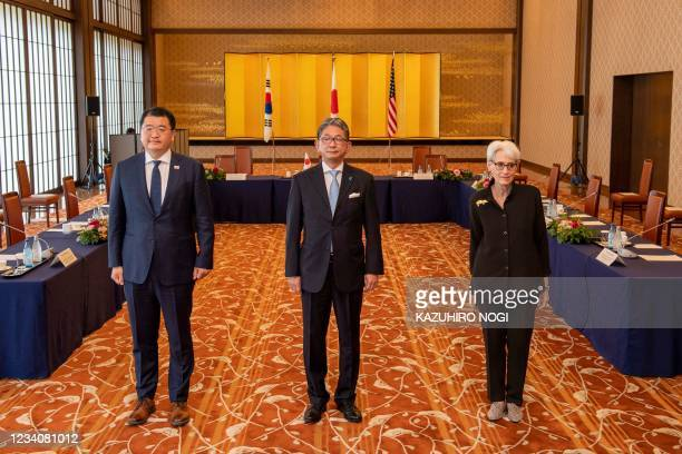 Japan's Vice Minister for Foreign Affairs Takeo Mori , South Korea's First Vice Foreign Minister Choi Jong-kun and US Deputy Secretary of State Wendy...