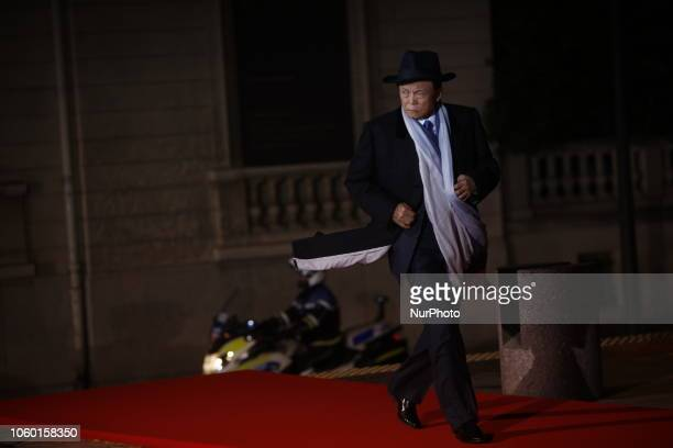 Japan's vice Prime Minister Taro Aso attends a state diner and a visit of the Picasso exhibition as part of ceremonies marking the 100th anniversary...