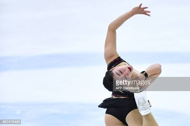 Japan's Wakaba Higuchi performs during the Senior Ladies free skating event during the 10th edition of the Lombardia Trophy 2017 in the IceLab...