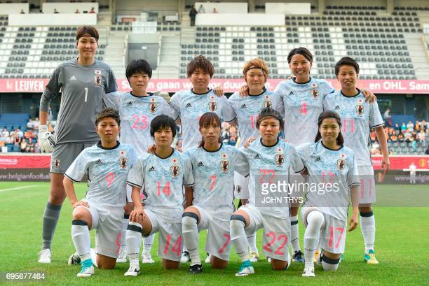 Japan's women's national football team players pose for a picture during the Women's International friendly football match between Belgium and Japan...