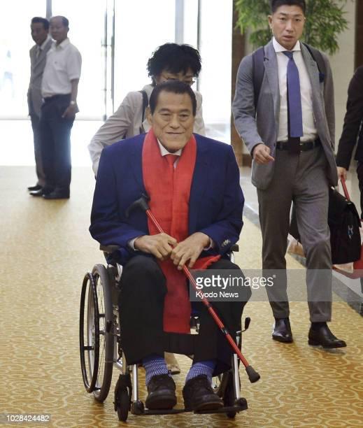 Japan's wrestlerturnedlawmaker Antonio Inoki arrives in Pyongyang's international airport on Sept 7 ahead of North Korea's 70th founding anniversary...