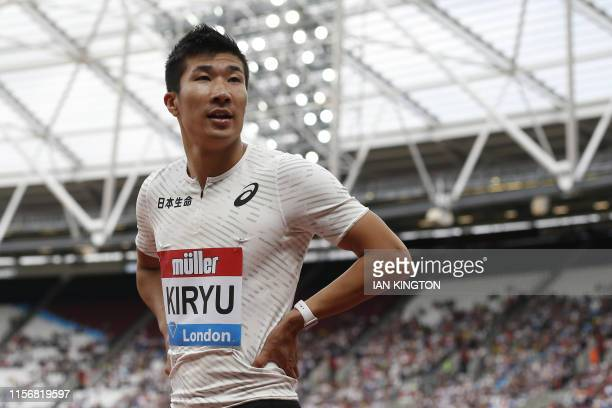 Japan's Yoshihide Kiryu looks on after competeing in the Men's 100m Heat B event during the the IAAF Diamond League Anniversary Games athletics...