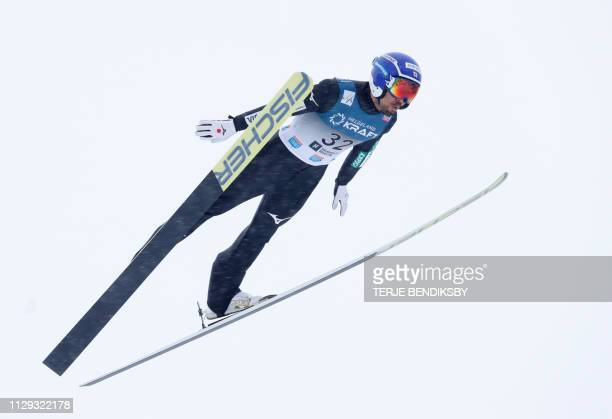 Japan's Yoshito Watabe competes during the FIS Ski Jumping World Cup Men´s Nordic Combined in Holmenkollen on March 9 2019 / Norway OUT