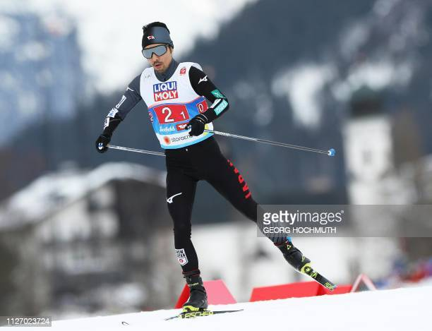 Japan's Yoshito Watabe competes in the crosscountry team sprint of the nordic combined event at the FIS Nordic World Ski Championships in Seefeld...