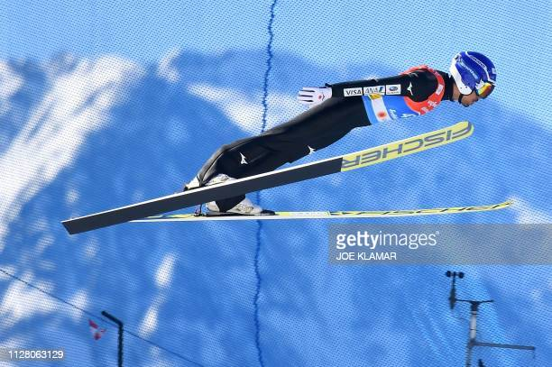 Japan's Yoshito Watabe competes in the jumping competition of the men's Nordic Combined Individual Gundersen NH/10 km event at the FIS Nordic World...