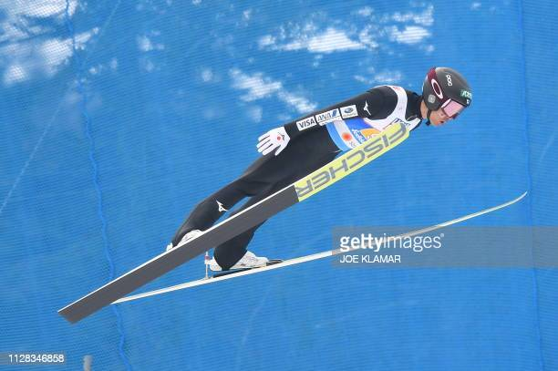 Japan's Yoshito Watabe competes in the jumping competition of the men's Nordic Combined Team Gundersen NH/4x5 km event at the FIS Nordic World Ski...