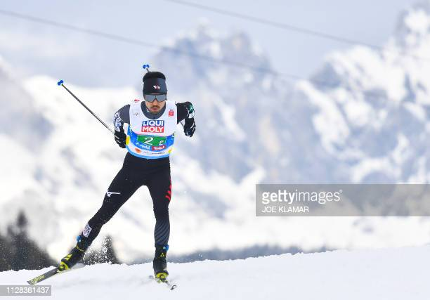 Japan's Yoshito Watabe competes in the men's Nordic Combined team CrossCountry 4x5 km event at the FIS Nordic World Ski Championships on March 2 2019...
