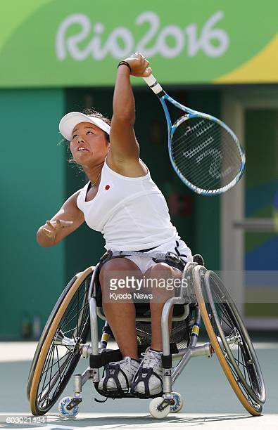 Japan's Yui Kamiji faces off against Macarena Cabrillana of Chile in the women's wheelchair tennis singles second round at the Rio de Janeiro...