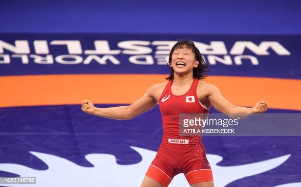 Japan's Yui Susaki celebrates her victory over Azerbaijan's Mariya Stadnik during the final of women's freestyle wrestling 50kg category at the World...