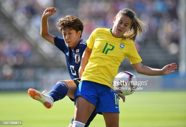 Japan's Yuika Sugasawa and Brazil's Andressinha vie for the ball during the 2018 Tournament of Nations at Pratt Whitney Stadium at Rentschler Field...