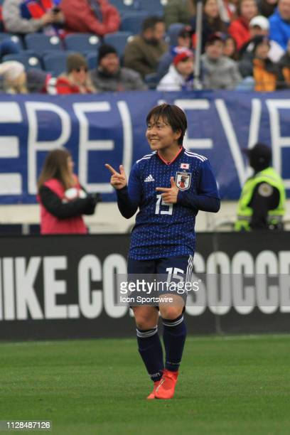 Japan's Yuka Momiki celebrates after scoring the first goal of the match during a SheBelieves Cup match between Brazil and Japan March 2 at Nissan...