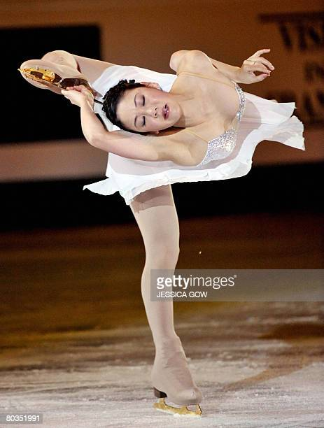 Japan's Yukari Nakano performs at the Scandinavium arena in Gothenburg on March 23 during the gala exhibition of the World Figure Skating...