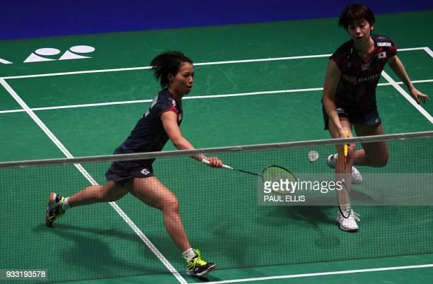 Japan's Yuki Fukushima and Sayaka Hirota take on Japan's Shiho Tanaka and Koharu Yonemoto during the womens doubles semi final of the All England...