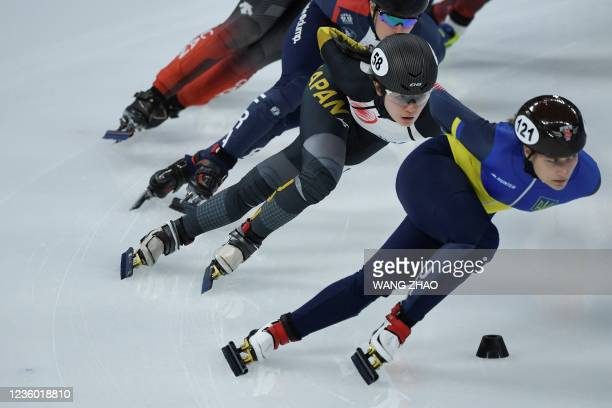 Japan's Yuki Kikuchi competes in the women's 1500m quarter-finals during the 2021/2022 ISU World Cup short track speed skating, part of a 2022...