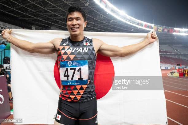 Japan's Yuki Koike celebrates his win in the final of the men's 200m athletics event during the 2018 Asian Games in Jakarta on August 29, 2018.