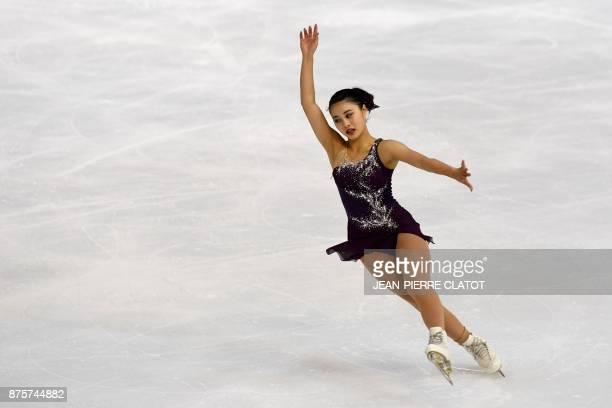 Japan's Yuna Shiraiwa performs during the Ladies Free Skating during the Internationaux de France ISU Grand Prix of Figure Skating in Grenoble,...