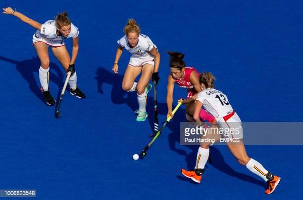 Japan's Yuri Nagai and Belgium's Alix Gerniers Stephanie Vanden Borre and Michelle Struijk Japan v Belgium Women's Hockey World Cup 2018 Pool D Lee...