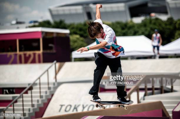 Japan's Yuto Horigome practices at Ariake Urban Sports Park ahead of the Tokyo 2020 Olympic Games in Tokyo, on July 22, 2021.