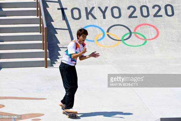 Japan's Yuto Horigome reacts as he competes in the men's street final during the Tokyo 2020 Olympic Games at Ariake Sports Park Skateboarding in...
