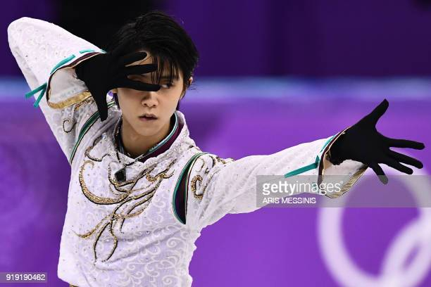 Japan's Yuzuru Hanyu competes in the men's single skating free skating of the figure skating event during the Pyeongchang 2018 Winter Olympic Games...