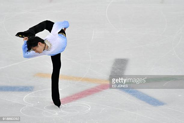 Japan's Yuzuru Hanyu competes in the men's single skating short program of the figure skating event during the Pyeongchang 2018 Winter Olympic Games...