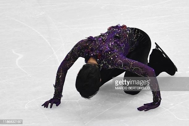 Japan's Yuzuru Hanyu reacts after performing during the Men Free Skating program on December 7, 2019 at the ISU Grand Prix of figure skating Final...
