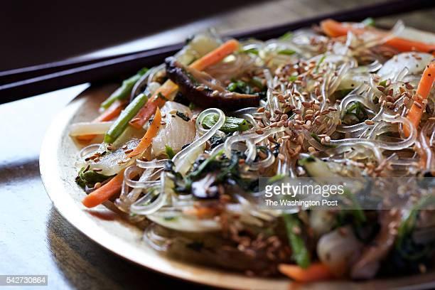 WASHINGTON DC Japchae at Zannchi a new Korean restaurant in Georgetown photographed in Washington DC