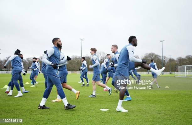 Japhet Tanganga and Davinson Sanchez of Tottenham Hotspur during the Tottenham Hotspur training session at Tottenham Hotspur Training Centre on...