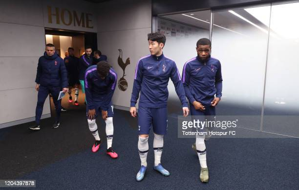 Japhet Tanganga and HeungMin Son of Tottenham Hotspur in the tunnel prior to the FA Cup Fourth Round Replay match between Tottenham Hotspur and...