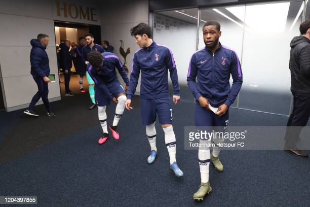 Japhet Tanganga anf HeungMin Son of Tottenham Hotspur in the tunnel prior to the FA Cup Fourth Round Replay match between Tottenham Hotspur and...