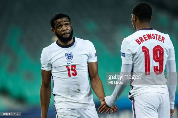 Japhet Tanganga of England and Rhian Brewster of England during the 2021 UEFA European Under-21 Championship Group D match between Portugal and...