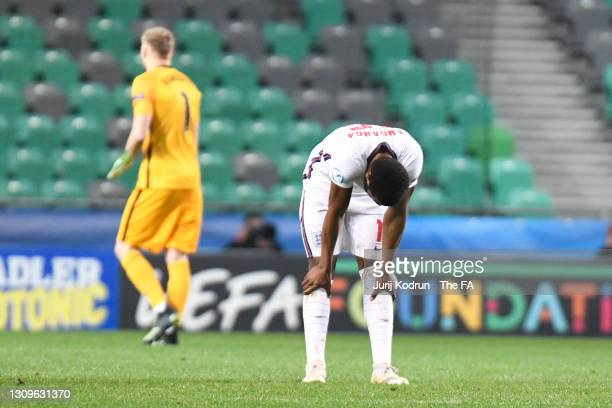 Japhet Tanganga of England looks dejected following the 2021 UEFA European Under-21 Championship Group D match between Portugal and England at...