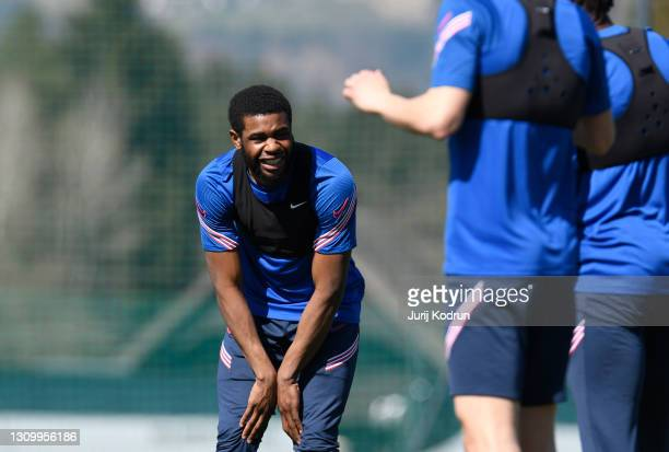 Japhet Tanganga of England smiles during an England Under-21 Training Session at NNC Brdo on March 30, 2021 in Kranj, Slovenia.