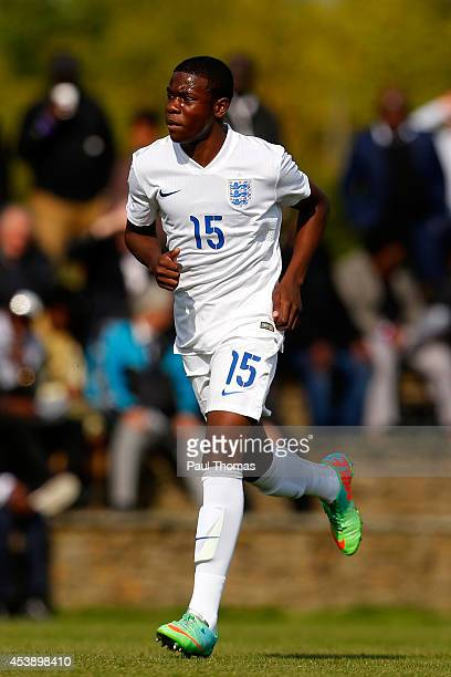 Japhet Tanganga of England U16's in action during the International U16 fixture between England and Belgium at St George's Park on August 20 2014 in...