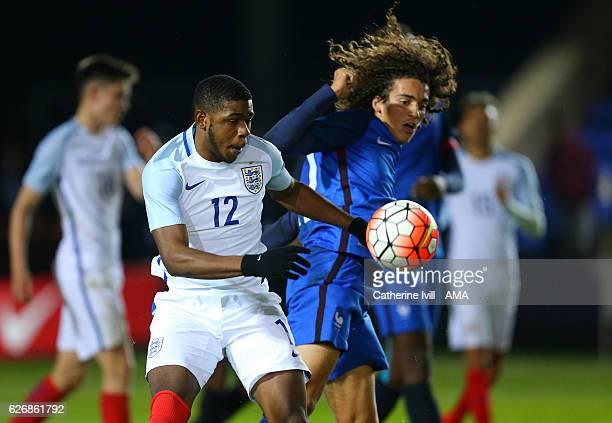 Japhet Tanganga of England U18 and Matteo Guendouzi of France U18 during the U18 International Friendly match between England and France at London...