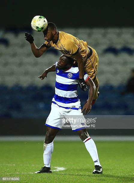 Japhet Tanganga of Tottenham Hotspur and Kingsley Eshun of QPR battle for an aerial ball during the FA Youth Cup match between Queens Park Rangers...