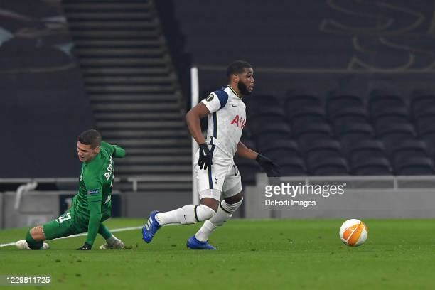 Japhet Tanganga of Tottenham Hotspur and Kiril DESPODOV of Ludogorets battle for the ball during the UEFA Europa League Group J stage match between...