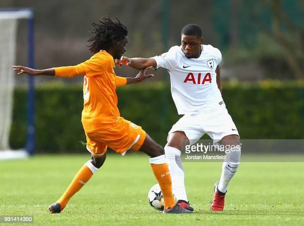 Japhet Tanganga of Tottenham Hotspur and Romario Baro of FC Porto during the UEFA Youth League group H match between Tottenham Hotspur and FC Porto...