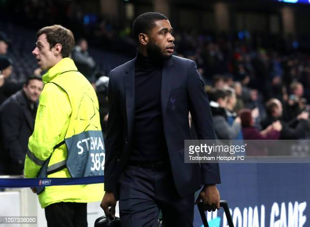 Japhet Tanganga of Tottenham Hotspur arrives at the stadium prior to the UEFA Champions League round of 16 first leg match between Tottenham Hotspur...