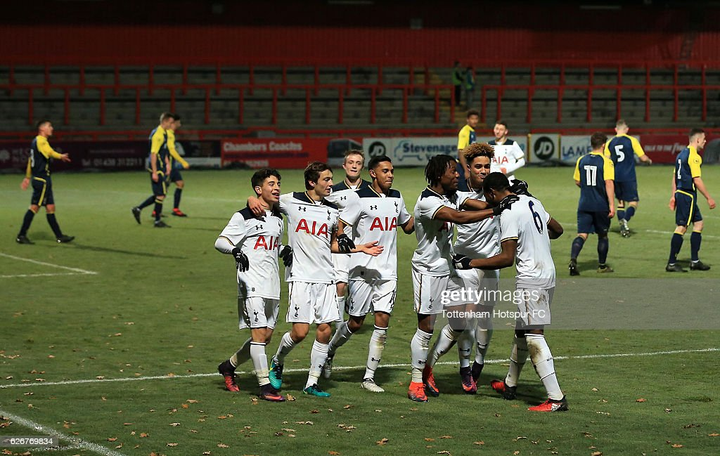 Japhet Tanganga of Tottenham Hotspur celebrates scoring during the FA Youth Cup Third Round between Tottenham Hotspur and Stevenage at on November 30, 2016 in Stevenage, England.
