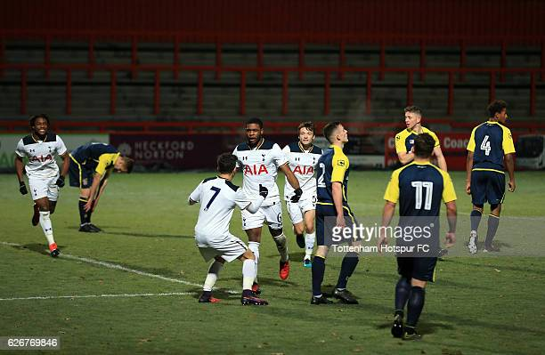 Japhet Tanganga of Tottenham Hotspur celebrates scoring during the FA Youth Cup Third Round between Tottenham Hotspur and Stevenage at on November 30...