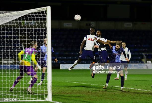 Japhet Tanganga of Tottenham Hotspur hits the crossbar from a header on goal during The Emirates FA Cup Fourth Round match between Wycombe Wanderers...