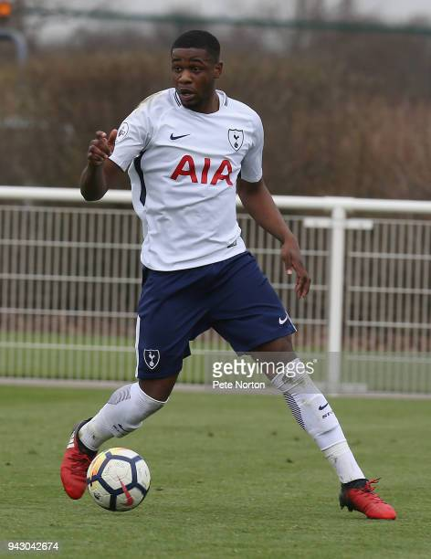 Japhet Tanganga of Tottenham Hotspur in action during the Premier League 2 match between Tottenham Hotspur and Derby County on April 7 2018 in...