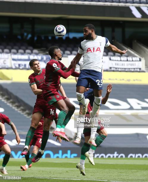Japhet Tanganga of Tottenham Hotspur in action during the Premier League match between Tottenham Hotspur and Wolverhampton Wanderers at Tottenham...
