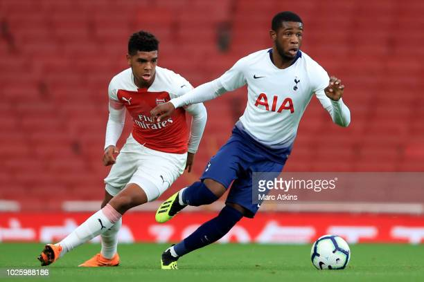 Japhet Tanganga of Tottenham Hotspur in action with Tyreece JohnJules of Arsenal during the Premier League 2 match between Arsenal and Tottenham...