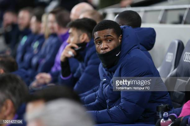 Japhet Tanganga of Tottenham Hotspur on the bench during the Premier League match between Tottenham Hotspur and Norwich City at Tottenham Hotspur...